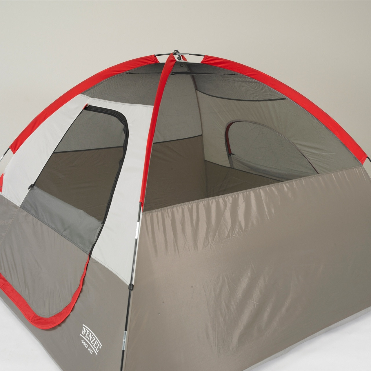 Side view of the Wenzel Ridgeline 3 tent setup without the rain fly on showing the interior of the tent