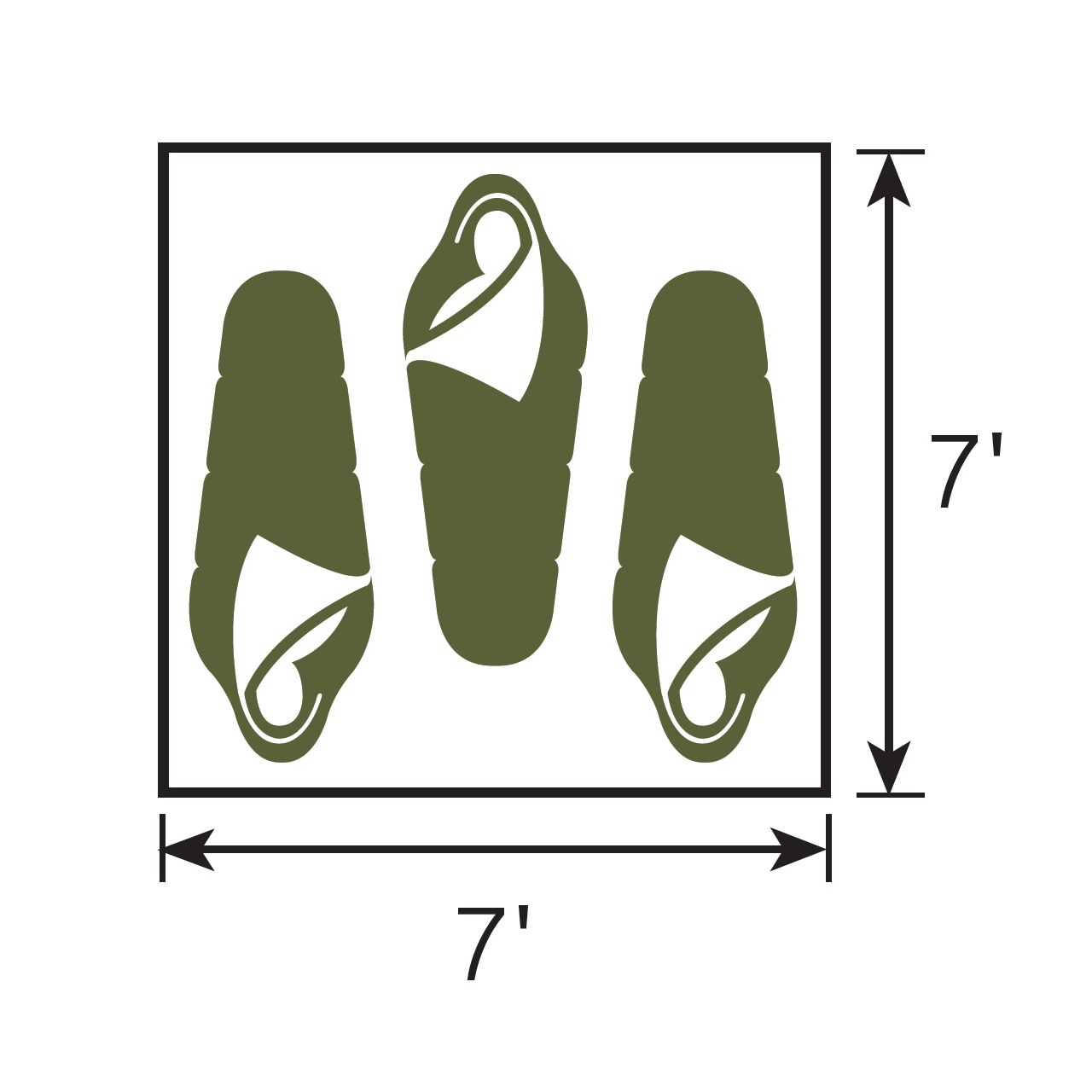Diagram of the floor sleeping plan for the Wenzel Ridgeline 3 tent with people in sleeping bags illustrating how to sleep three people