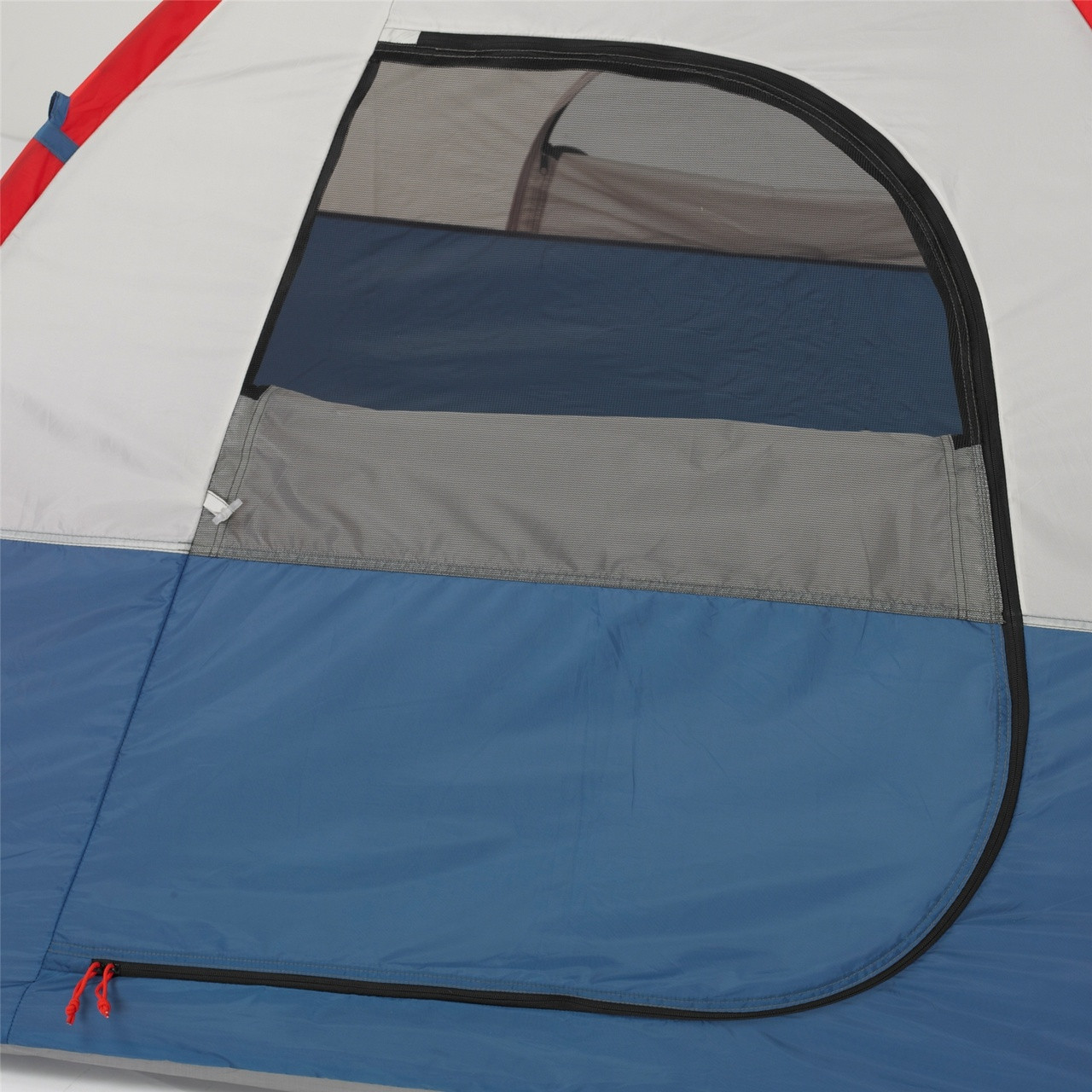 Close up view of the main door on the Wenzel Sprout 2 tent with the main screen door rolled open