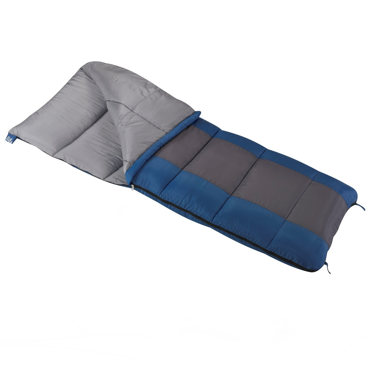 Wenzel Sunward 30 degree sleeping bag blue and gray with the corner partially unzipped and folded over showing the gray interior of the sleeping bag