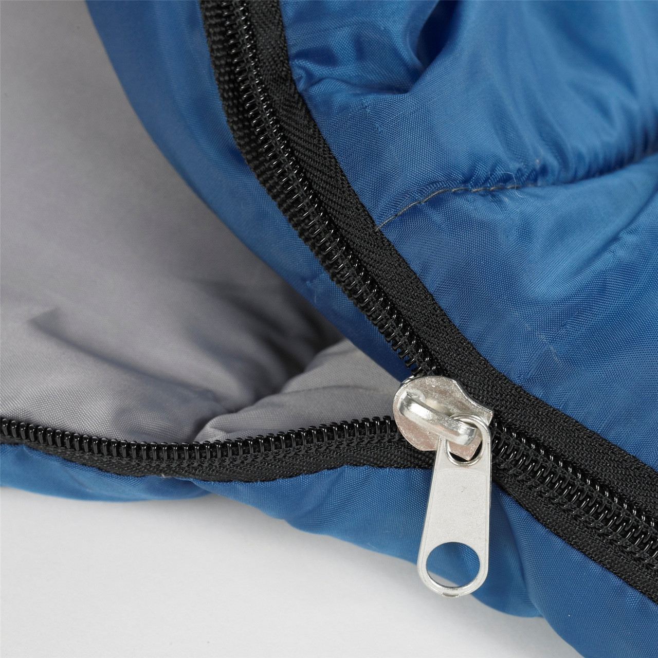 Close up view of the zipper partially unzipped on the Wenzel Sunward 30 degree sleeping bag