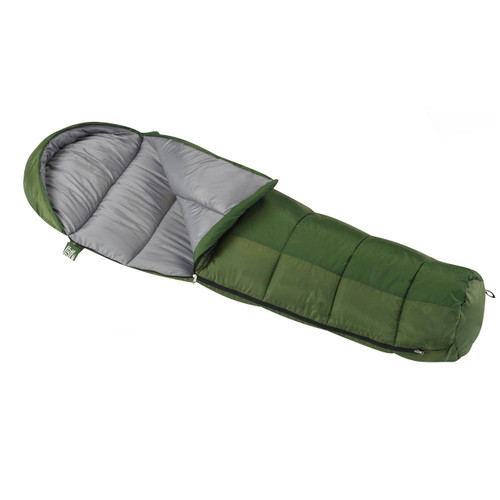 Wenzel Kids Backyard 30 degree sleeping bag , green, laying flat partially unzipped with the corner partially folded over showing the gray interior of the sleeping bag