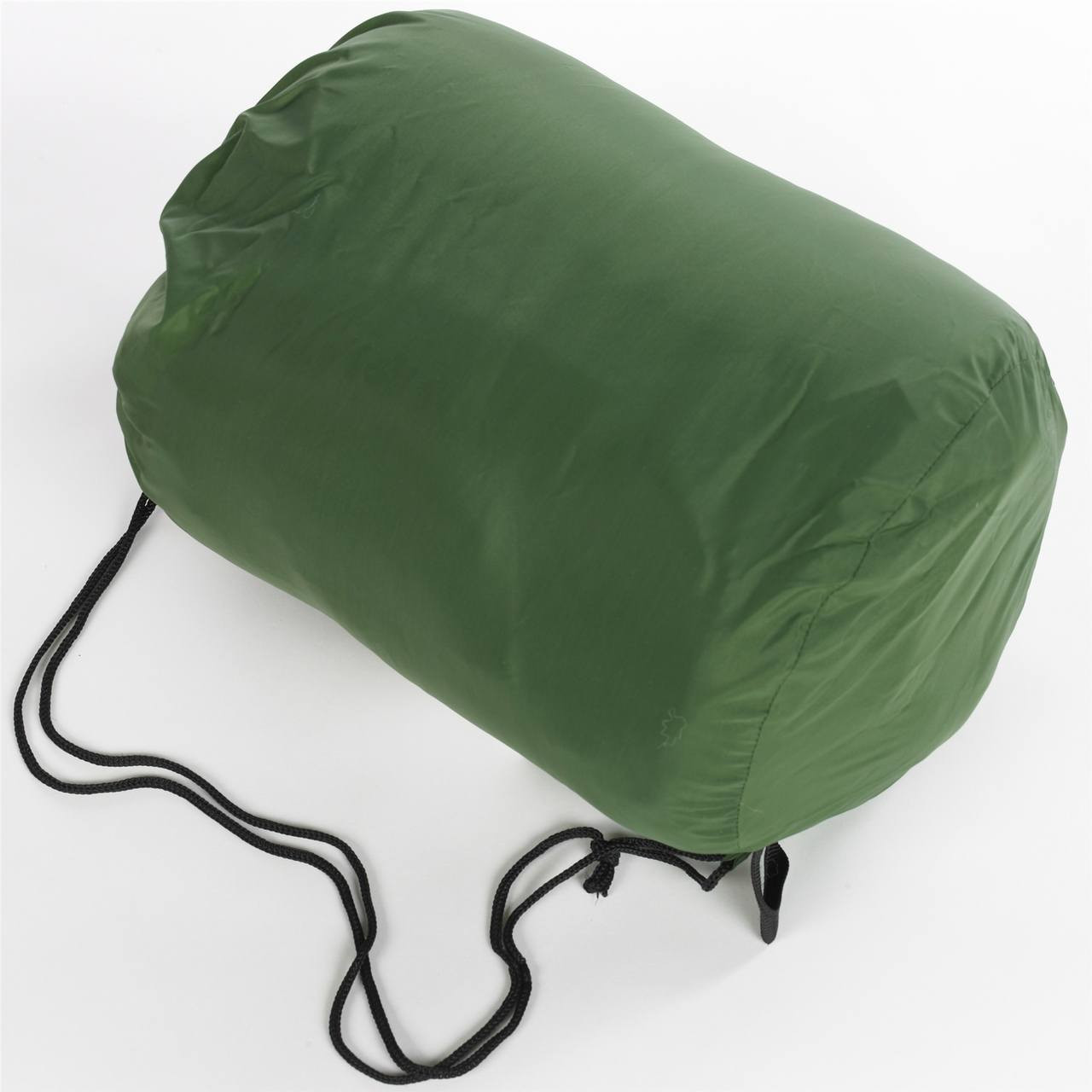 Wenzel Kids Backyard 30 degree sleeping bag rolled and stored in the green storage bag