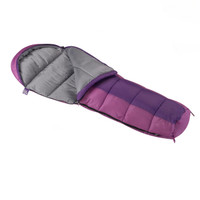 Wenzel Kids Backyard 30 degree sleeping bag, purple, laying flat with the zipper partially undone and the corner folded over showing the gray interior of the sleeping bag