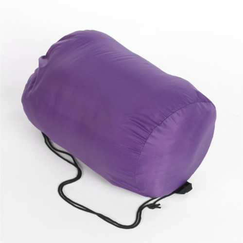 Wenzel Kids Backyard 30 degree sleeping bag rolled and stored in the purple storage bag