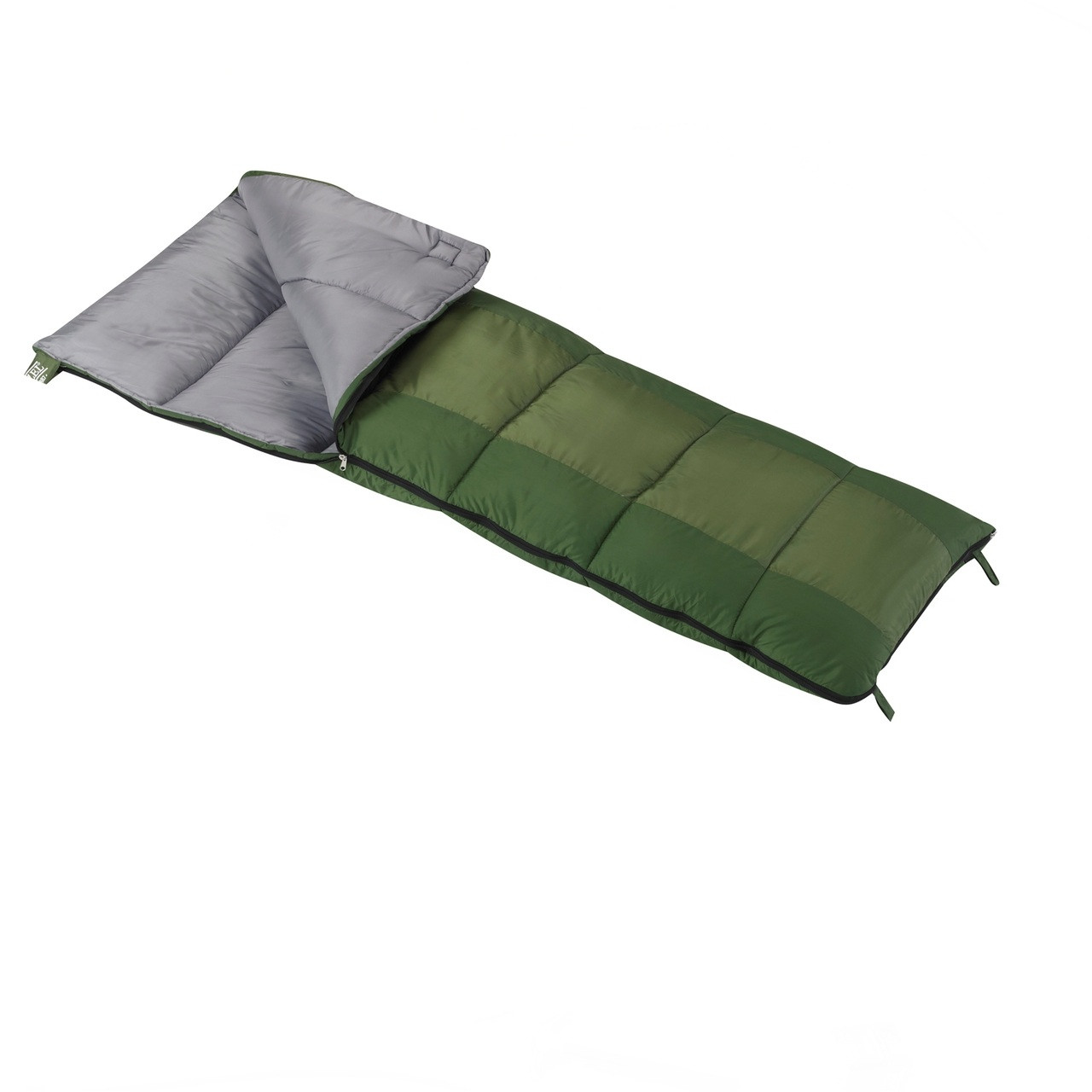 Wenzel Kids Summer Camp 40 degree sleeping bag, green, laying flat with the zipper partially unzipped and the corner folded over showing the gray interior of the sleeping bag