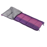 Wenzel Kids Summer Camp 40 degree sleeping bag, purple, laying flat with the zipper partially unzipped and the corner folded over showing the gray interior of the sleeping bag