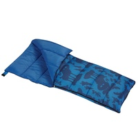 Wenzel Kids Blue Moose 40 degree sleeping bag, blue, laying flat partially unzipped with the corner folded over to show the blue interior of the sleeping bag