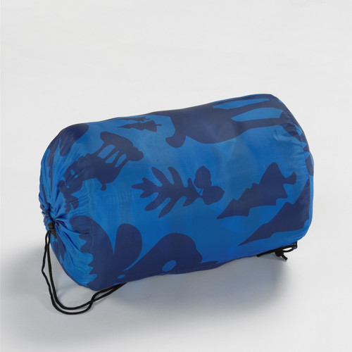 Wenzel Kids Blue Moose 40 degree sleeping bag rolled and stored in the blue storage bag