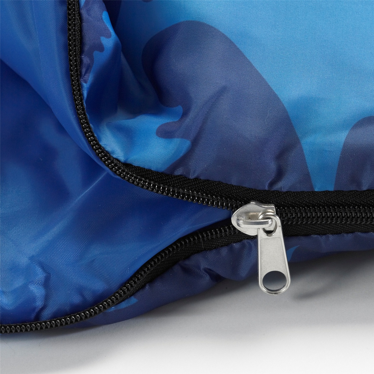Close up view of the zipper partially unzipped on the Wenzel Kids Blue Moose 40 degree sleeping bag