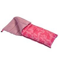 Wenzel Kids Pink Moose 40 degree sleeping bag, pink, laying flat with the zipper partially unzipped and the corner folded over showing the pink interior of the sleeping bag