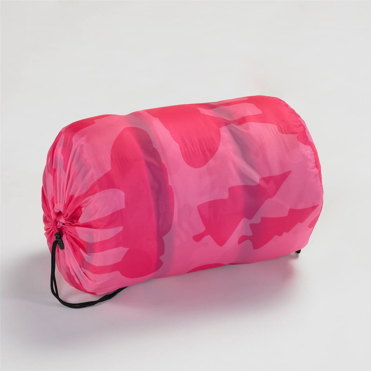 Wenzel Kids Pink Moose 40 degree sleeping bag rolled and stored in the pink storage bag