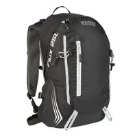 Front view of the Wenzel Flux 25L backpack, black with white, showing the main compartment zippers, accessory pocket zipper, and gear storage loops.