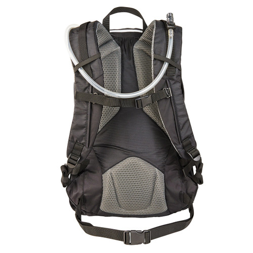 Back view of the Wenzel Flux 25L backpack, black, showing the adjustable waistband, padded gray shoulder pads, with a hydration tube looped through the shoulder straps