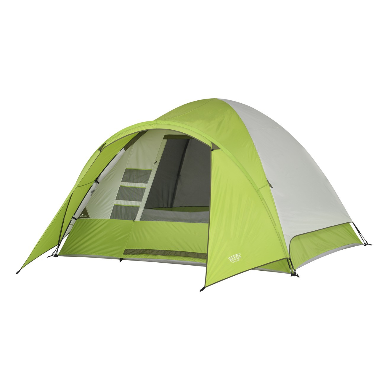 Wenzel Portico 6 tent, light green and tan, completely setup with the rain fly on and the vestibule extended with the main screen window rolled open