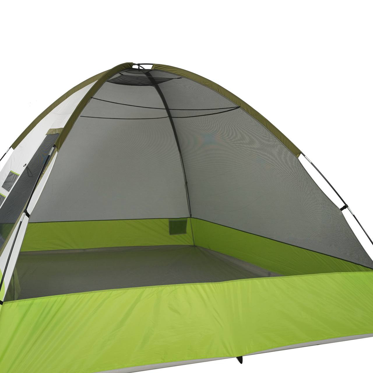 Side view of the Wenzel Portico 6 tent setup without the rain fly on showing the interior of the tent