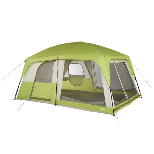 Wenzel Eldorado 8 tent, green and tan, completely set up with the rain fly on, guy lines extended, the inside doors not set up, and the inside screen windows rolled down