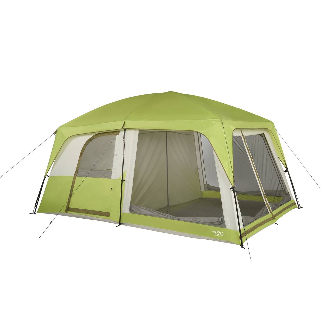 Wenzel Eldorado 8 tent, green and tan, completely set up with the rain fly on, guy lines extended, the inside doors set up, and the inside screen windows rolled down