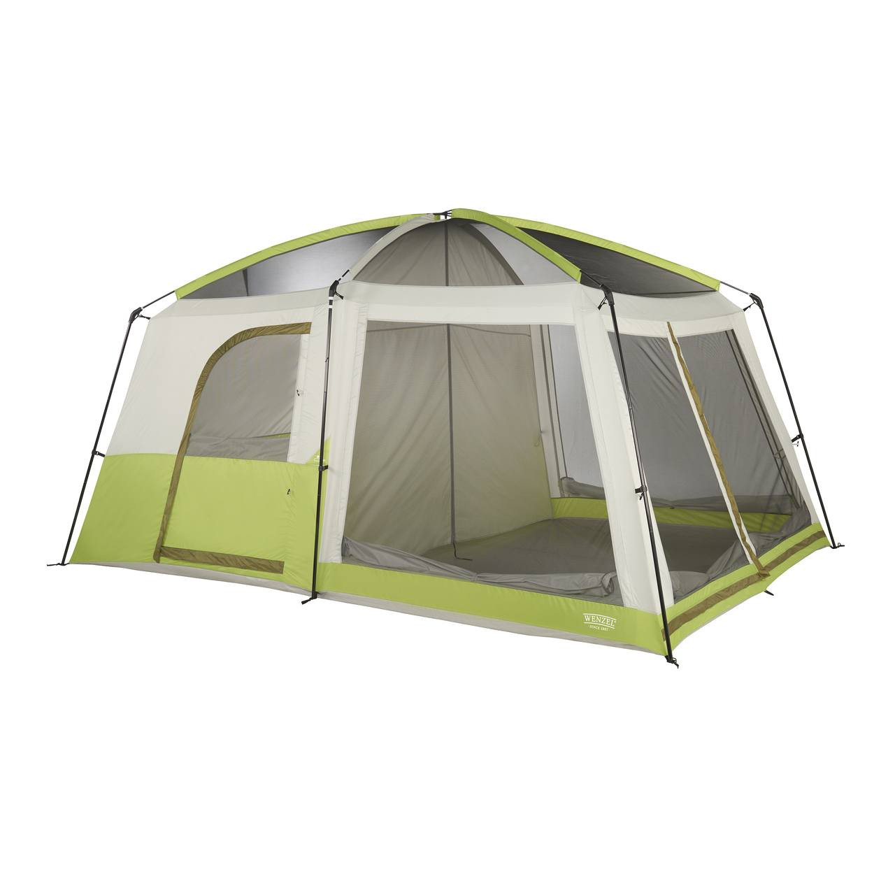 Wenzel Eldorado 8 tent, green and tan, completely set up with the rain fly off, the inside doors set up and the inside screen windows rolled down