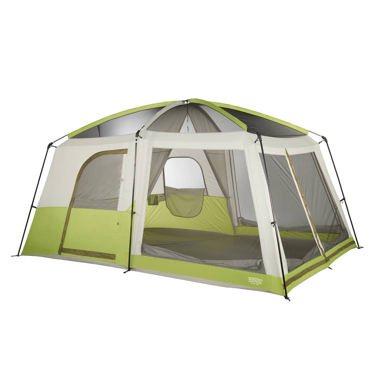 Wenzel Eldorado 8 tent, green and tan, completely set up with the rain fly off, the inside tent doors not set up, and the inside screen windows rolled down