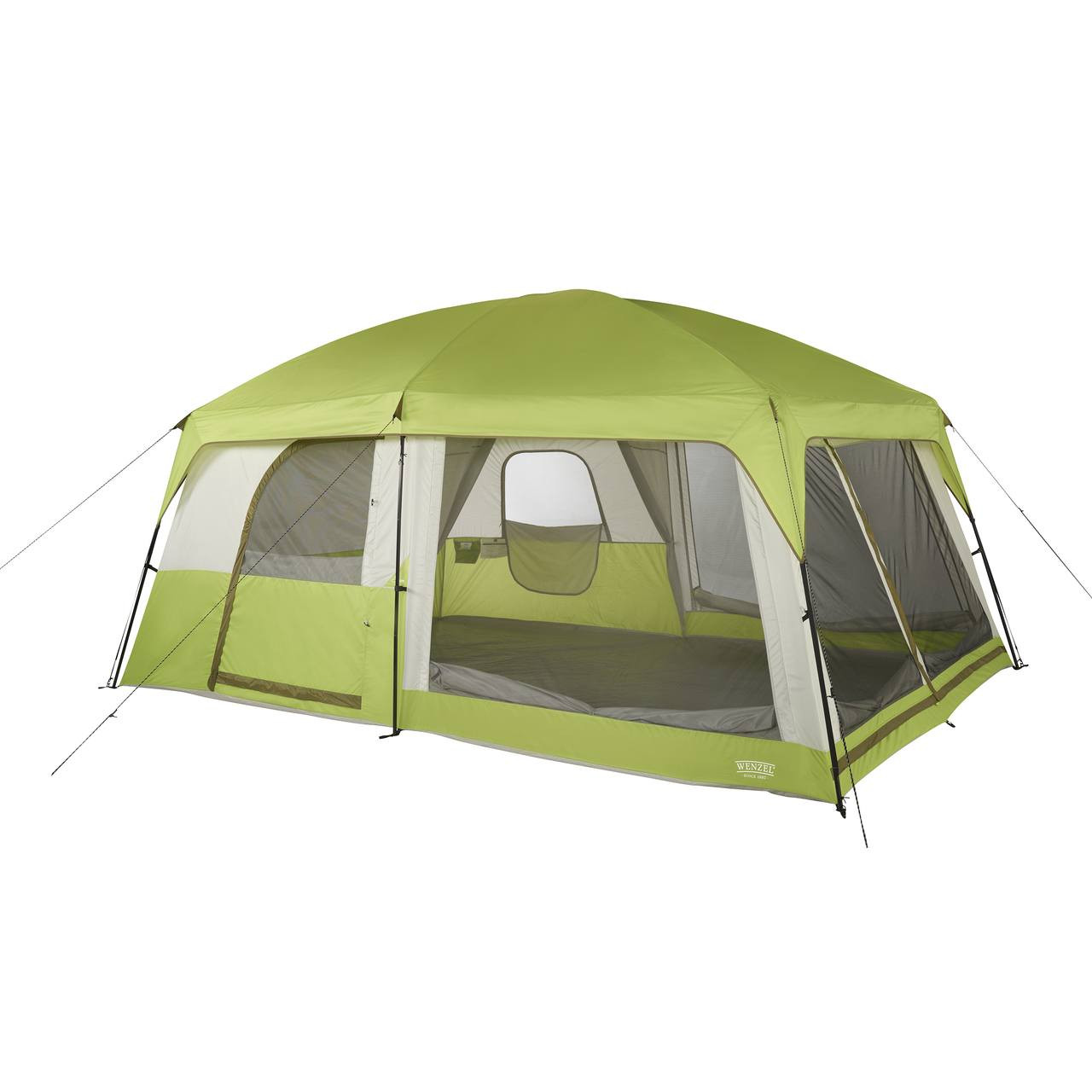 Wenzel Eldorado 10 tent, light green and gray, completely set up with the rain fly on, guy lines extended and screen door covers rolled down with the inside tent doors not set up