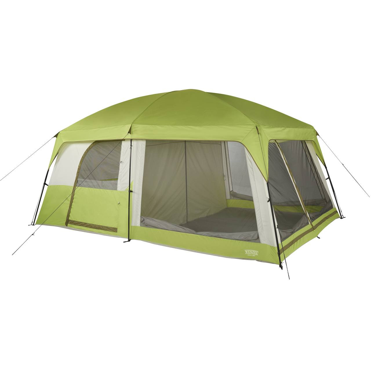 Wenzel Eldorado 10 tent, light green and gray, completely set up with the rain fly on, guy lines extended and screen door covers rolled down with the inside tent doors set up