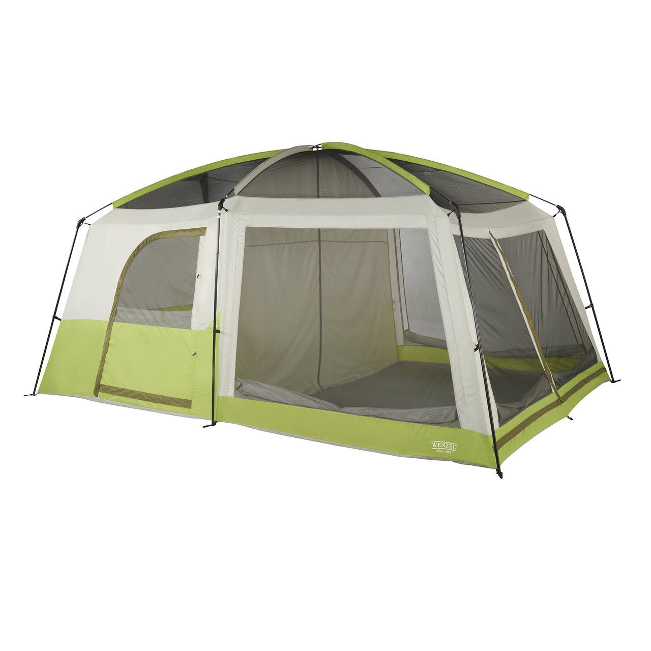 Wenzel Eldorado 10 tent, light green and gray, completely set up with the rain fly off, screen door covers rolled down with the inside tent doors set up