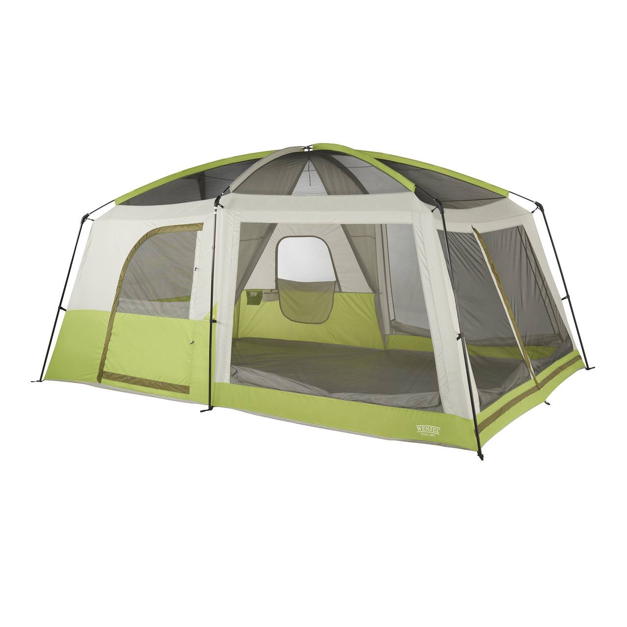 Wenzel Eldorado 10 tent, light green and gray, completely set up with the rain fly off and the inside tent doors not set up