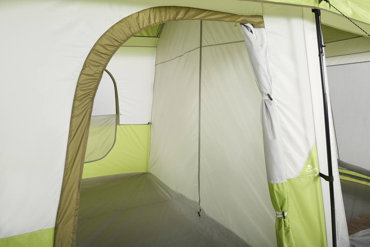 Close up view of a side door rolled open on the Wenzel Eldorado 10 tent