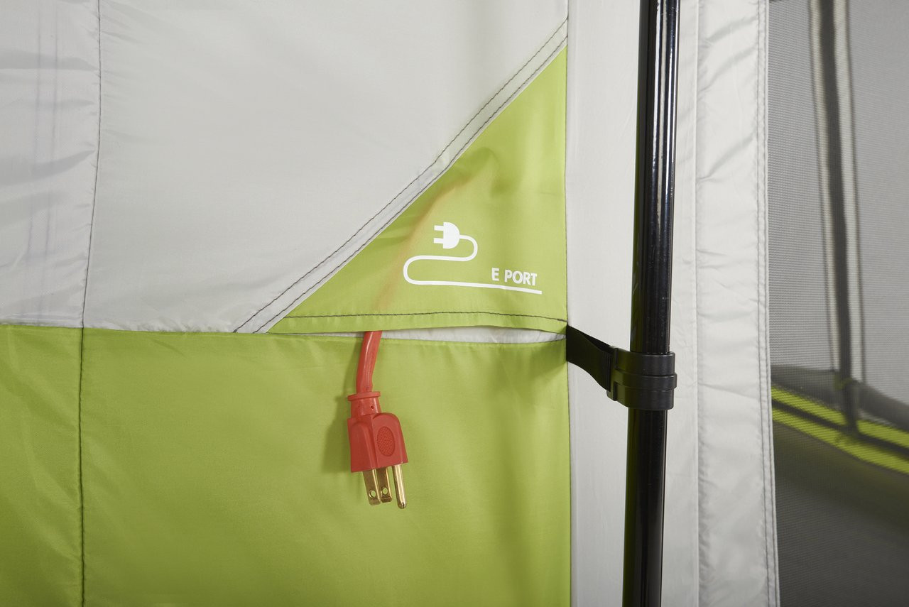 Close up view of the E port on the Wenzel Eldorado 10 tent with an extension cord plug hanging out