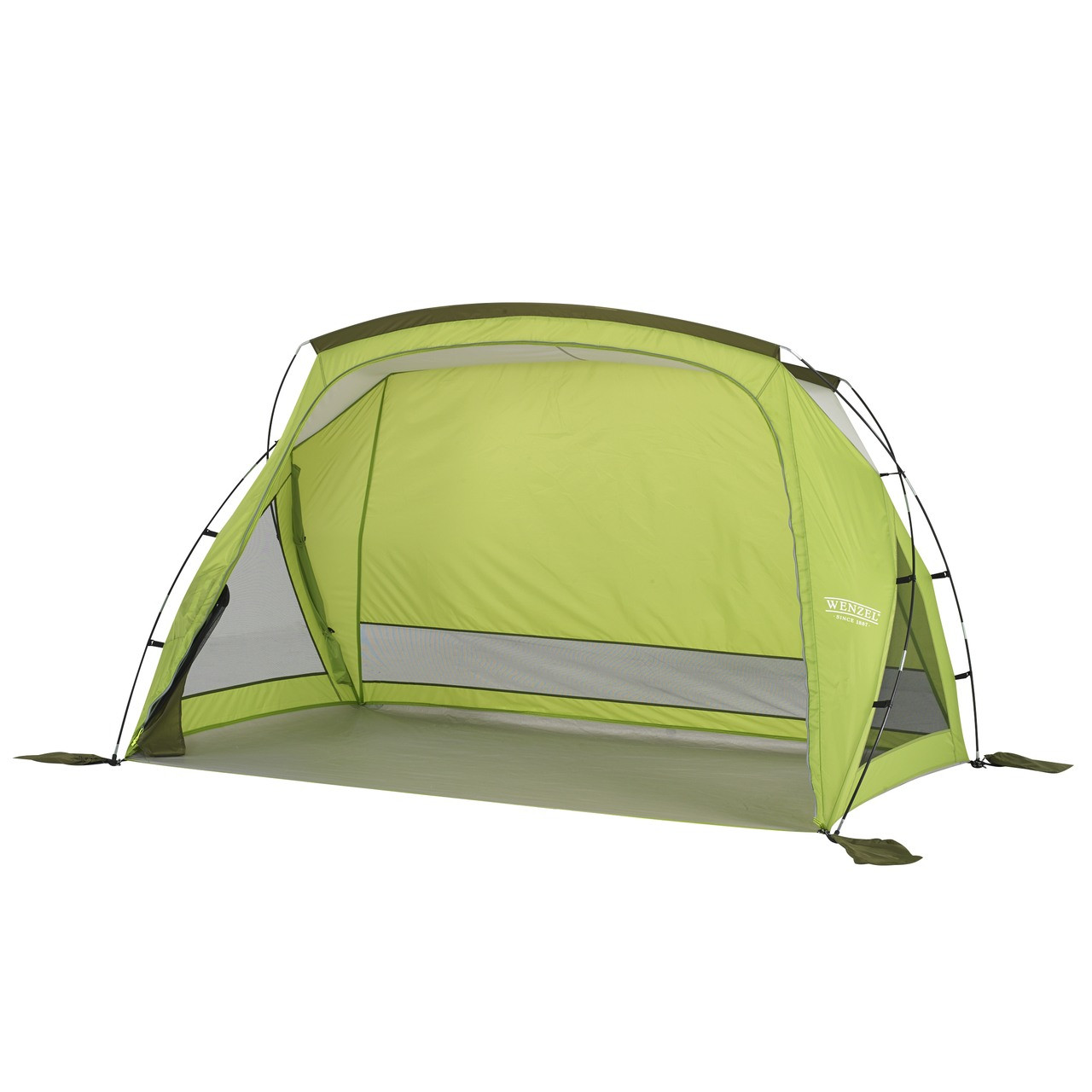 Wenzel Grotto shelter tent, green, setup with the main screen door open