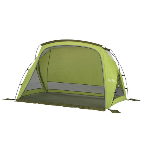 Wenzel Grotto shelter tent, green, setup with the main screen door closed and the side screen windows open