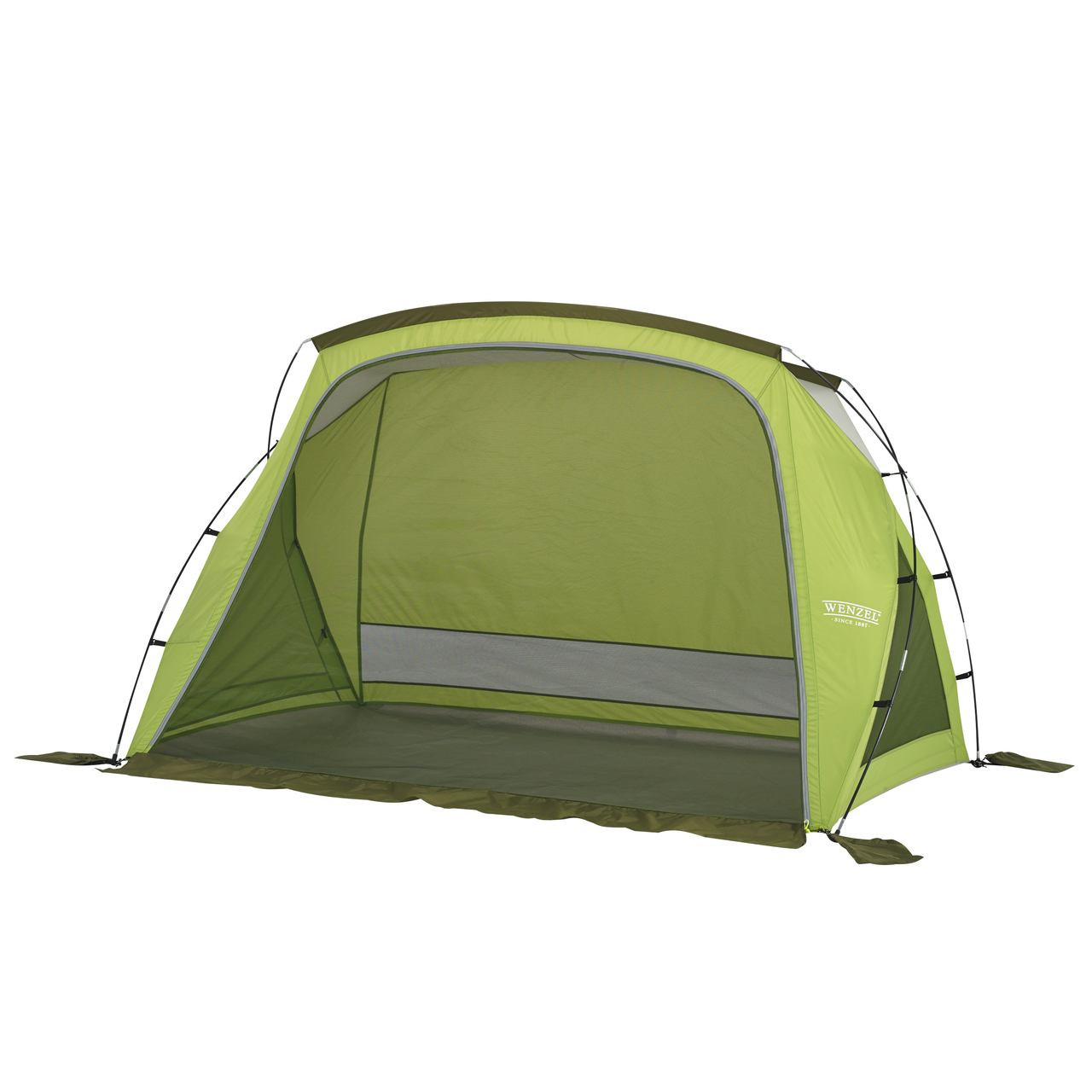 Wenzel Grotto shelter tent, green, setup with the main screen door closed and the side screen windows closed