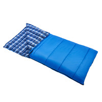 Wenzel Apache 30 degree sleeping bag, blue, with the corner folded over showing a blue plaid interior