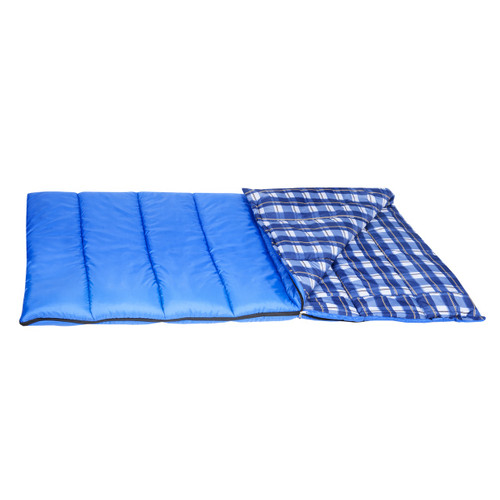Wenzel Apache 30 degree sleeping bag, blue, laying flat with the corner folder over showing the blue plaid interior