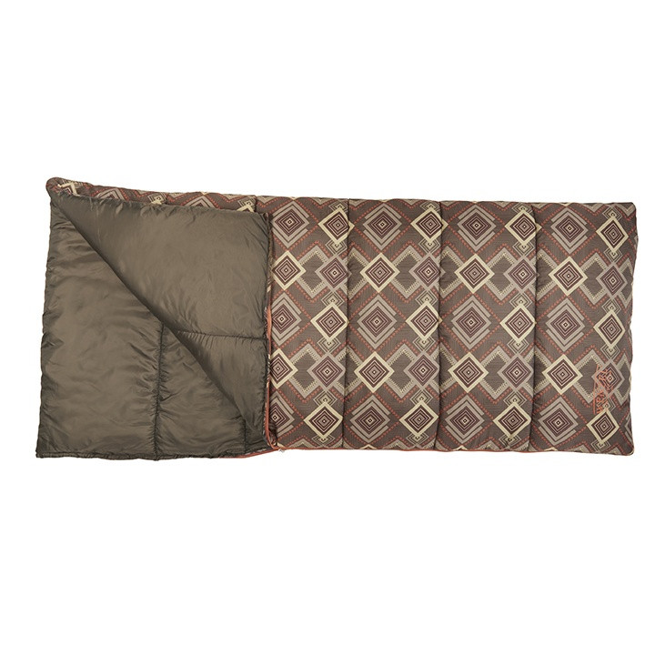 Wenzel Cassidy sleeping bag, brown gray and white square pattern, laying flat with a corner partially open showing the brown interior of the sleeping bag
