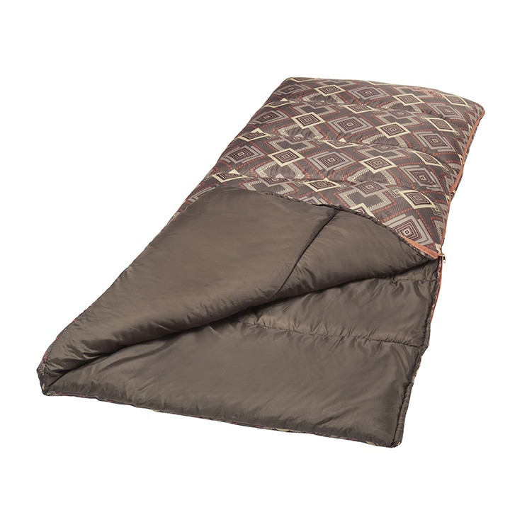Wenzel Cassidy sleeping bag, brown gray and white square pattern, laying flat with a corner folded over showing the brown interior of the sleeping bag