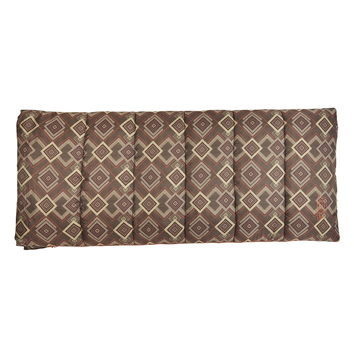 Wenzel Cassidy sleeping bag, brown gray and white square pattern, laying flat fully closed