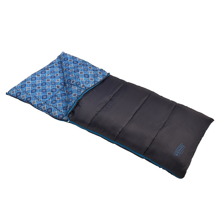 Wenzel Night Rider sleeping bag, black, laying flat with the zipper partially undone and the corner partially folded over showing the blue diamond alternating interior pattern of the sleeping bag