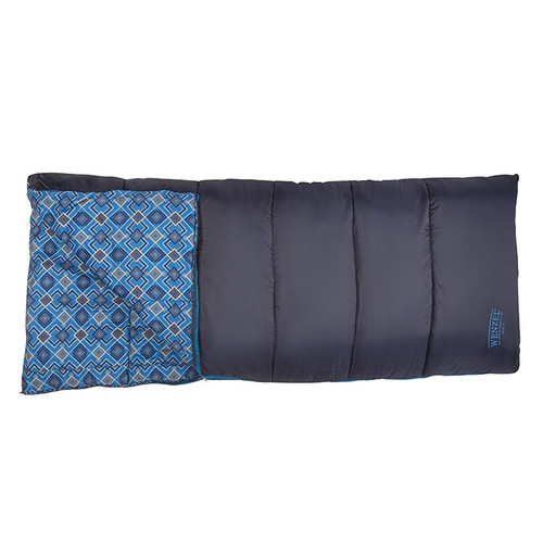 Top down view of the Wenzel Night Rider sleeping bag, laying flat with the zipper partially undone and the corner partially folded over showing the blue diamond alternating interior pattern of the sleeping bag