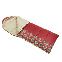 Wenzel Pop-Top sleeping bag, red with gray diamond pattern on the side, laying flat with the corner partially unzipped and folded over showing the tan interior of the sleeping bag