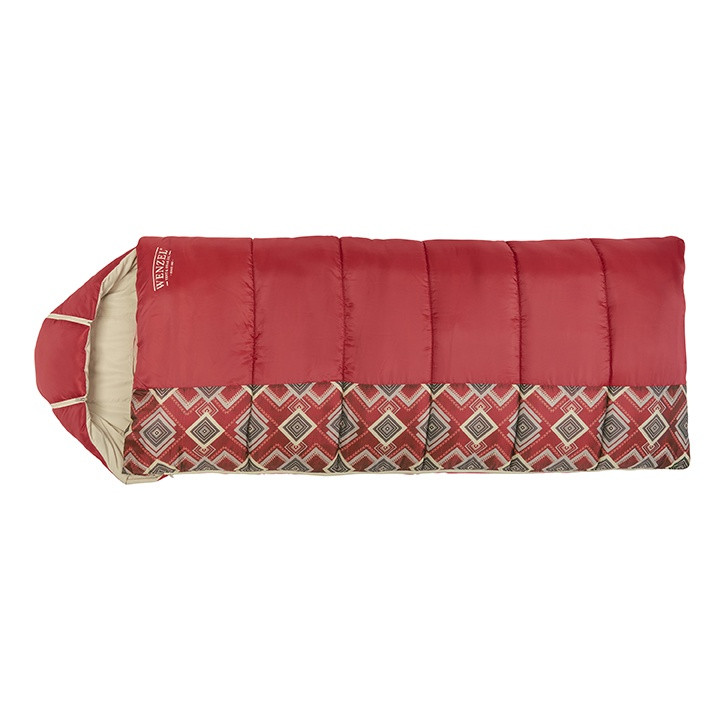 Wenzel Pop-Top sleeping bag laying flat fully zipped shut