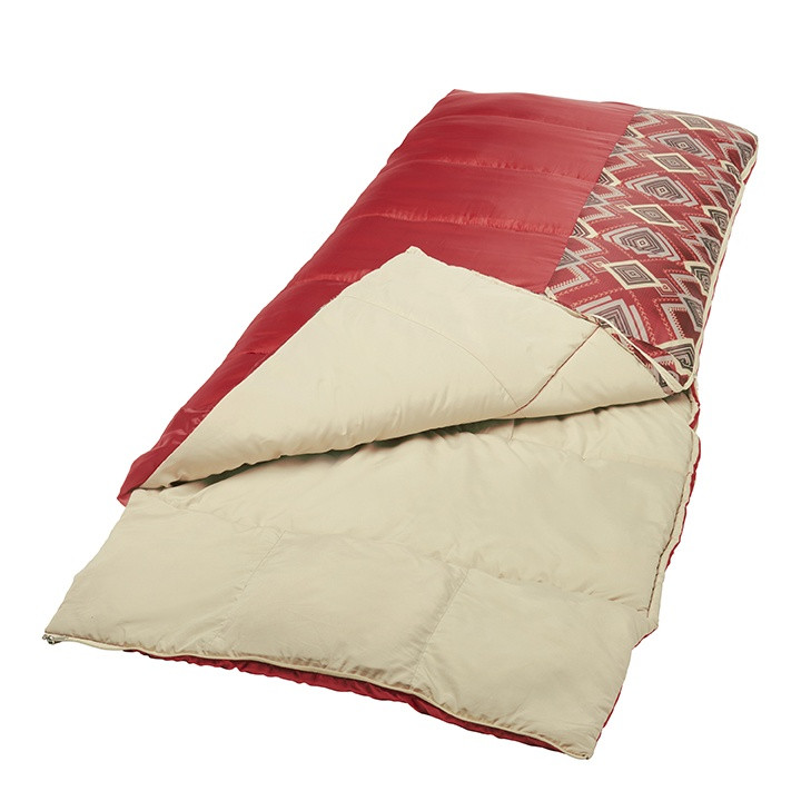 Wenzel Pop-Top sleeping bag laying flat with the mummy portion unzipped and tucked underneath the bag with the corner partially unzipped and folded over showing the tan interior of the sleeping bag