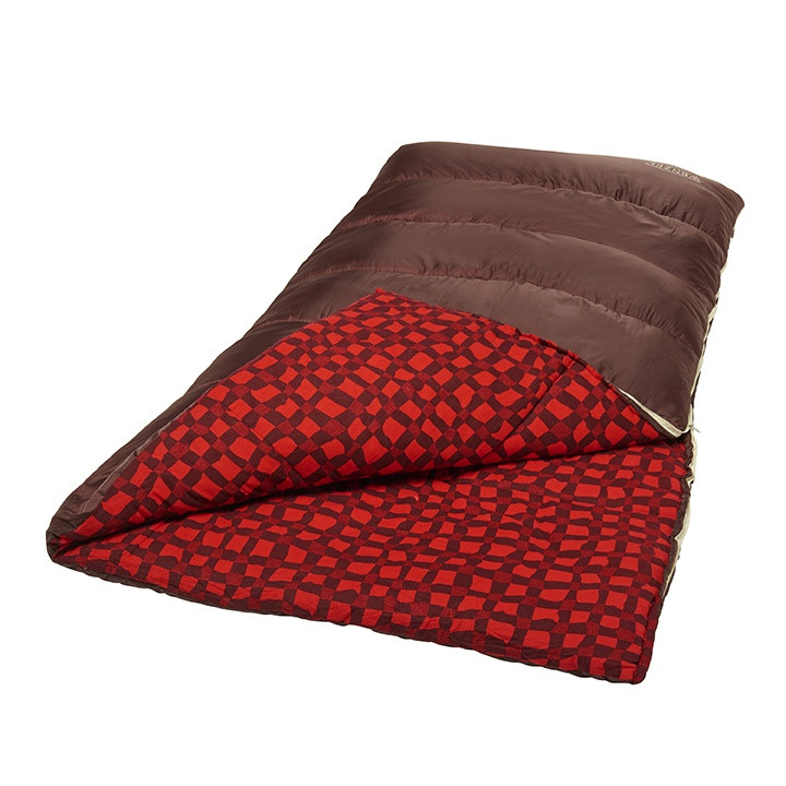 Wenzel Desperado sleeping bag, black, laying flat with a corner partially folded over showing the red and black plaid interior