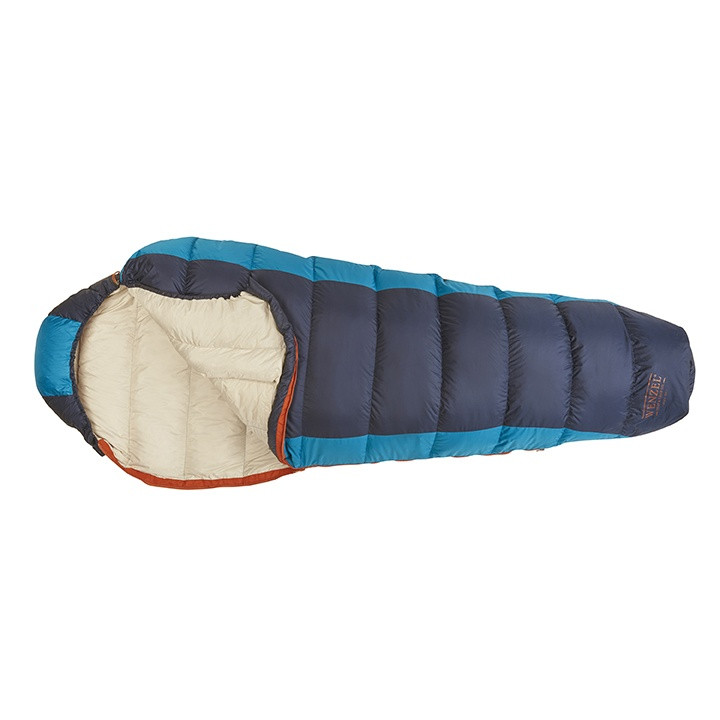 Top down view of the Wenzel Jailbird sleeping bag, black and blue, laying flat with the zipper corner partially unzipped and folded over showing the tan interior of the sleeping bag