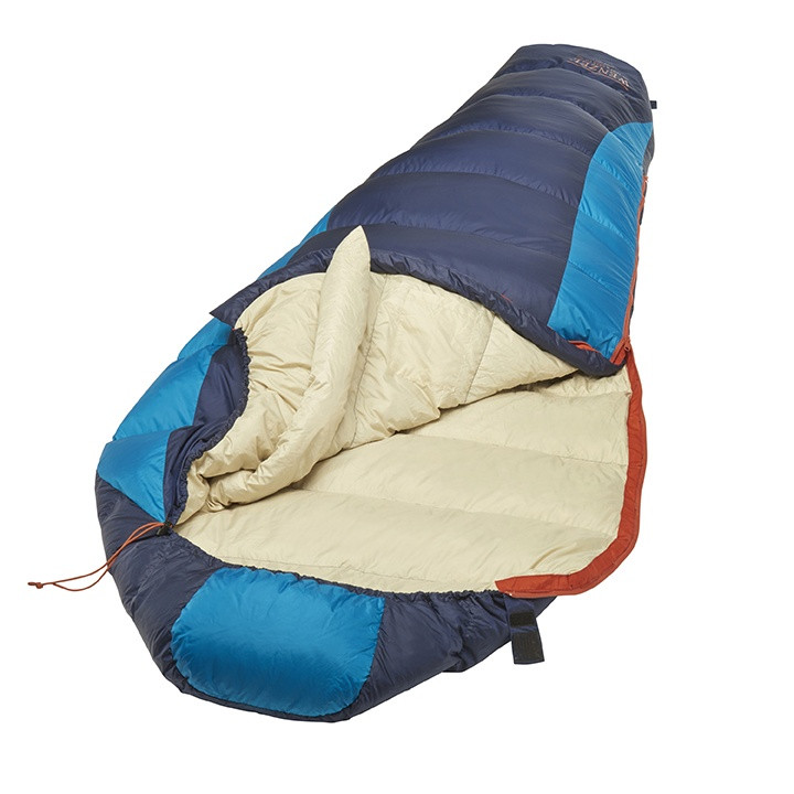 Wenzel Jailbird sleeping bag, black and blue, laying flat with the zipper corner partially unzipped and folded over showing the tan interior of the sleeping bag