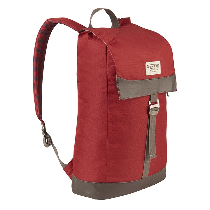 Front side view of the Wenzel Stache 20 backpack, red with brown, showing the main compartment latched closed