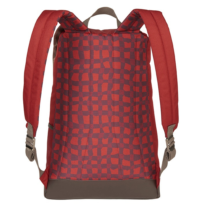 Back view of the Wenzel Stache 20 backpack showing the shoulder straps and the red and/black plaid back