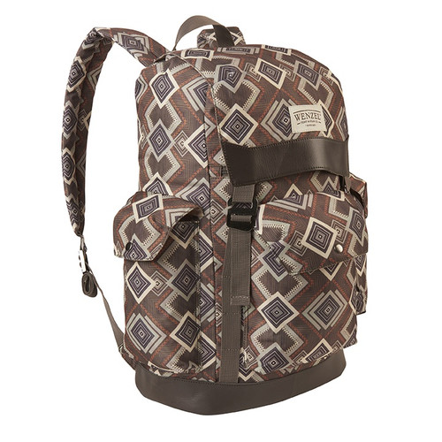 Front view of the Wenzel Stache 28 backpack, brown with white and red alternating diamond patterns, showing side pockets and the main compartment closed.