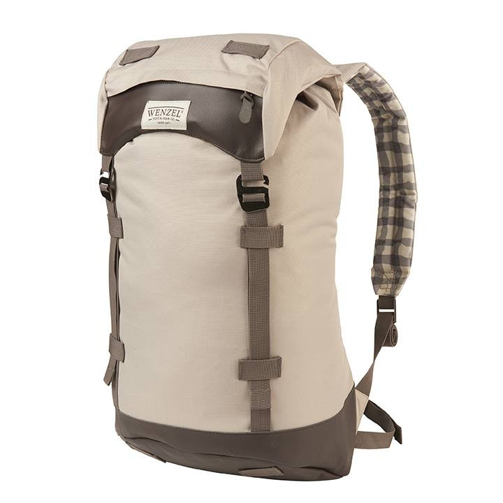 Front view of the Wenzel Boulderdasche 30 pack, Tan and brown with gray straps, fully closed showing the Wenzel logo